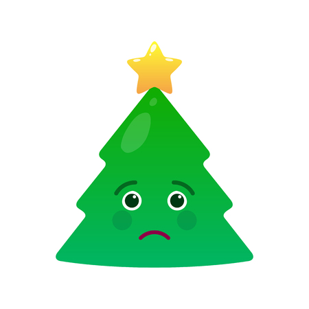 Melancholy christmas tree isolated emoticon. Sad green fir tree with decoration emoji. Merry Christmas and happy new year vector element. Yearning face with facial expression. Winter holidays sign