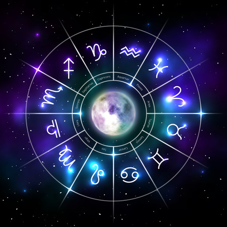 Mystic zodiac wheel with star signs in neon style Ilustracja