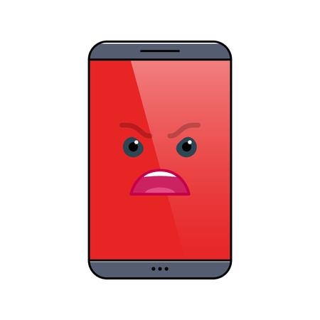 Icône d'émoticône isolé de téléphone mobile en colère. Symbole emoji d'appareil numérique furieux. Communication sociale et chat. Smartphone enragé montrant une émotion faciale. Illustration vectorielle de téléphone portable animé