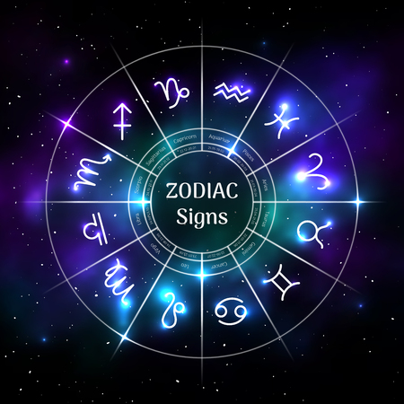 Zodiac circle with astrological symbols