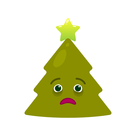 Diseased christmas tree isolated emoticon. Sick green fir tree with decoration emoji. Merry Christmas and happy new year vector element. Ill face with facial expression. Winter holidays symbol.