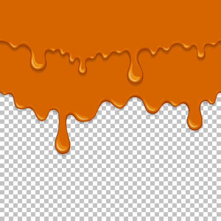 Orange sticky liquid seamless element. Realistic dripping slime isolated object. Dessert background with oozing honey. Popular kids sensory game. Gold caramel flowing repeatable vector illustration  イラスト・ベクター素材