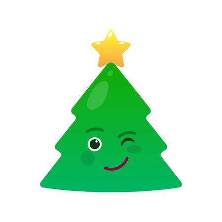 Winking christmas tree isolated emoticon