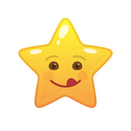 Playful star shaped comic emoticon. Frisky face with facial expression. Coltish emoji symbol for internet chatting. Funny social communication animated character. Mood message isolated vector element