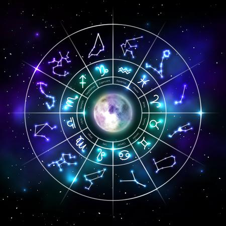Koło zodiaku z symbolami astrologicznymi w stylu neonowym