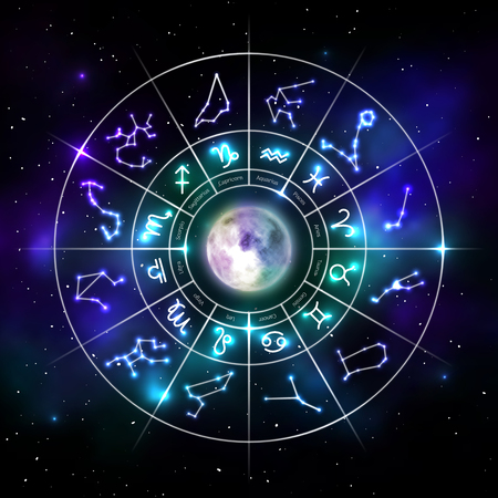 Zodiac circle with astrology symbols in neon style Standard-Bild - 112697660