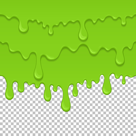 Green sticky liquid seamless element. Realistic dripping slime isolated object. Background with oozing zombie slime. Popular kids sensory game. Paint drips and flowing repeatable vector illustration.
