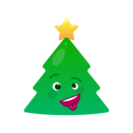 Crazy christmas tree isolated emoticon Stock Photo