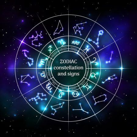 Zodiac circle with astrology symbols in neon style Illustration
