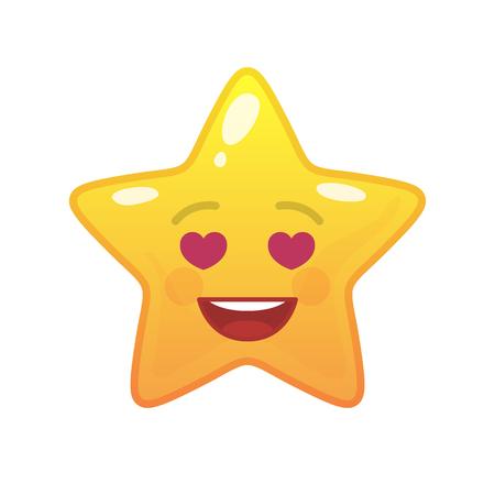Amoureus stervormige komische emoticon. Verliefd gezicht met gezichtsuitdrukking. Liefdevol emoji-symbool voor internetchatten. Grappig sociaal communicatiekarakter. Stemming bericht geïsoleerd vectorelement.