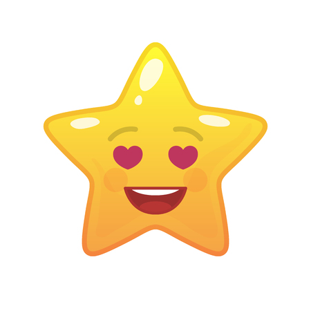 Amorously star shaped comic emoticon. Enamored face with facial expression. Lovingly emoji symbol for internet chatting. Funny social communication character. Mood message isolated vector element.