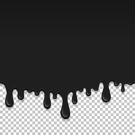 Black dripping slime seamless pattern. Petroleum background with copy space. Kids sensory toy vector illustration. Realistic liquid mucus isolated element. Flowing black fluid. Paint drops and blots. Standard-Bild - 127237560