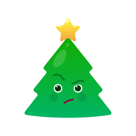 Critical christmas tree isolated emoticon. Suspecting green fir tree with decoration emoji. Merry Christmas and happy new year vector element. Envious face with facial expression. Winter holidays sign