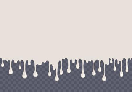 Nahtloses Muster des weißen tropfenden Schleims. Milchhintergrund mit Kopienraum. Kinder sensorische Spielzeug-Vektor-Illustration. Realistische flüssige saure Sahne isoliertes Element. Fließende weiße Flüssigkeit. Malen Sie Tropfen und Flecken.