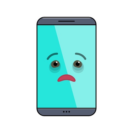 Diseased mobile phone isolated emoticon