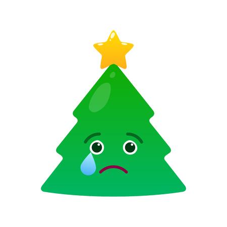 Melancholy christmas tree isolated emoticon