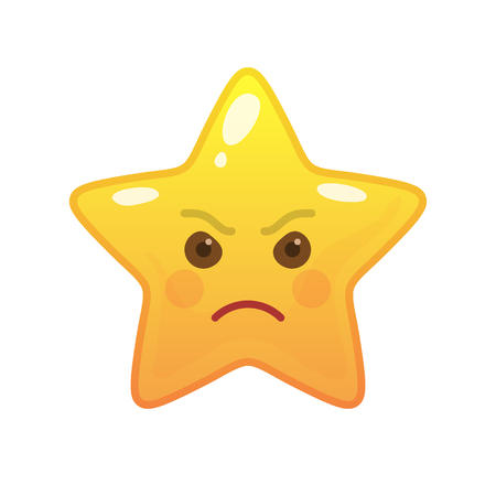Angry star shaped comic emoticon. Enraged face with facial expression. Frenzied emoji symbol for internet chatting. Funny social communication animated character. Mood message isolated vector element Vecteurs