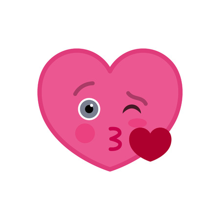 Kissing heart shaped funny emoticon icon. Sweetheart pink emoji symbol. Social communication and online chatting vector element. Enamored face showing facial emotion. Valentine's day mascot.