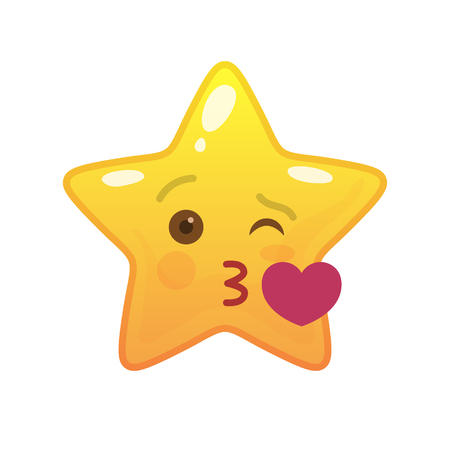 Kissing star shaped comic emoticon. Enamored face with facial expression. Sweetheart emoji symbol for internet chatting. Funny social communication animation. Mood message isolated vector element