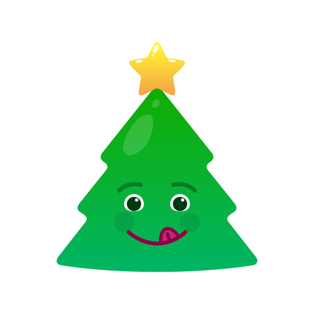 Playful christmas tree isolated emoticon. Frisky green fir tree with decoration emoji. Merry Christmas and happy new year vector element. Coltish face with facial expression. Winter holidays symbol