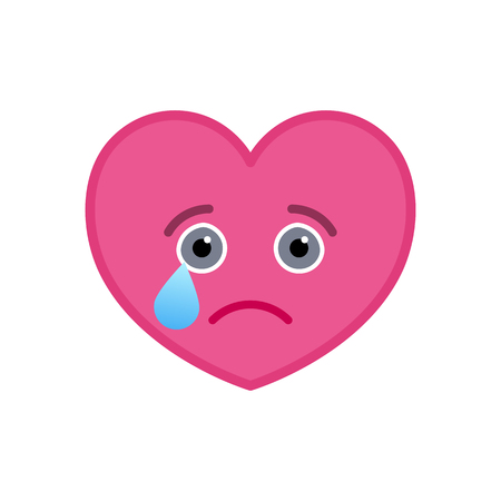 Crying heart shaped funny emoticon icon. Melancholy pink emoji symbol. Social communication and online chatting vector element. Tragic face showing facial emotion. Valentine's day mascot in flat style
