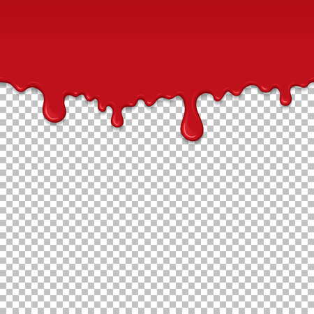 Red dripping slime seamless pattern. Bloody background with copy space. Kid sensory toy vector illustration. Realistic oozing slime isolated element. Flowing red sticky liquid. Paint drops and blots  イラスト・ベクター素材