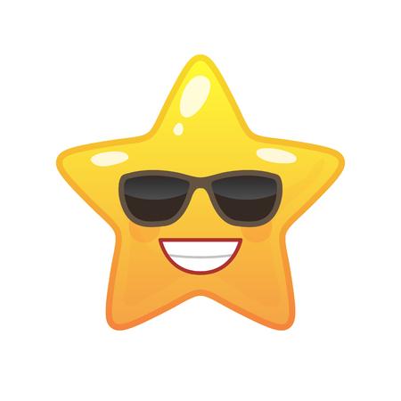 Zelfverzekerde stervormige komische emoticon. Tevreden gezicht met gezichtsuitdrukking. Blij emoji-symbool voor internetchatten. Grappige sociale communicatie animatie. Stemming bericht geïsoleerd vectorelement