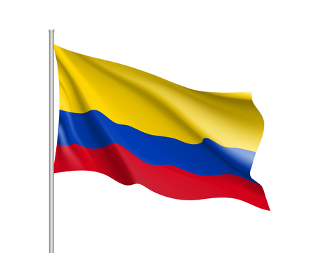 Waving flag of republic Columbia . Realistic iIllustration of South America country flag on flagpole. 3d vector icon isolated on white background
