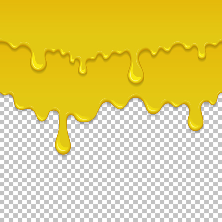 Yellow sticky liquid seamless element. Realistic dripping slime isolated object. Background with golden honey. Popular kids sensory game. Glossy yellow fluid flowing repeatable vector illustration  イラスト・ベクター素材