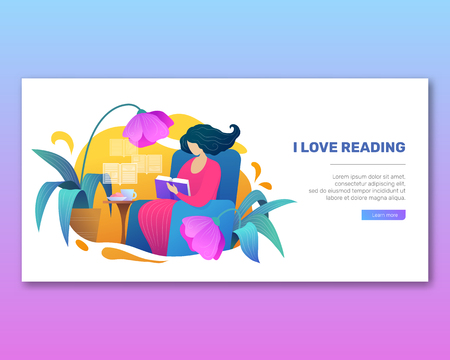 I love reading vector poster in trendy flat style. Young woman reading book on armchair. Intellectual hobby, distance studying and self education. Relaxation with book at home in comfortable setting