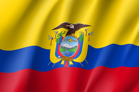 Republic Ecuador national flag. Patriotic symbol in official country colors. Illustration of South America state realistic flag. Vector icon Ilustração