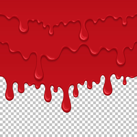 Red sticky liquid seamless element. Realistic dripping slime isolated object. Bloody background with oozing slime. Popular kids sensory game. Paint drips and flowing repeatable vector illustration.  イラスト・ベクター素材