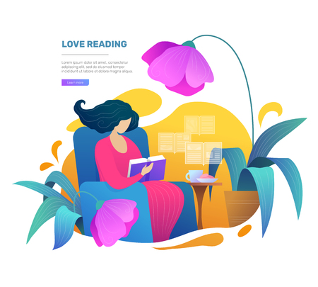 Weekend relaxation with book vector illustration in flat style. Young woman reading book on armchair at home. Intellectual hobby, distance studying and self education poster with female reader.