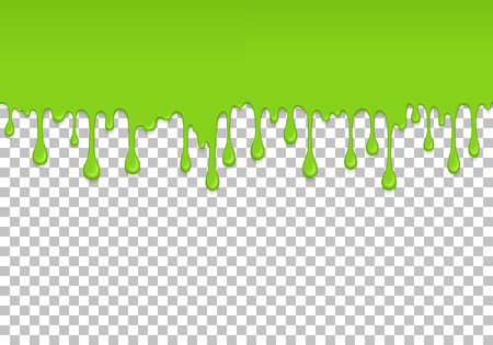 Light green dripping slime seamless pattern. Zombie slime background. Kids sensory toy vector illustration. Realistic oozing slime isolated element. Flowing lime sticky liquid. Paint drops and blots.  イラスト・ベクター素材