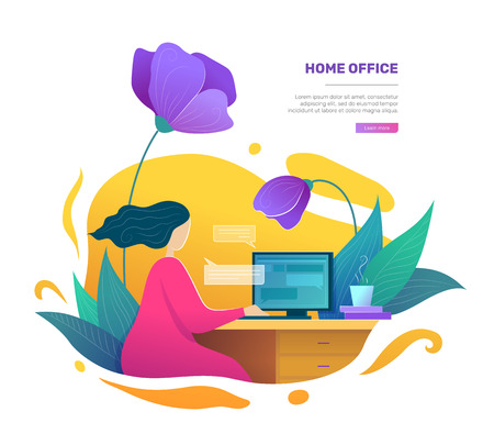 Modern home office space concept in flat style. Self employed woman using desktop computer. Business woman working at home vector illustration. Freelance and education at home workplace poster