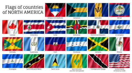 National countries flags of North America continent. USA, Mexico, Canada, Costa Rica, Jamaica, Barbados, Salvador, Cuba, Dominica 3d realistic waving flags. Patriotic symbols vector illustration set. Illustration