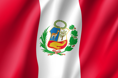 Republic Peru national flag. Patriotic symbol in official country colors. Illustration of South America state realistic flag. Vector icon