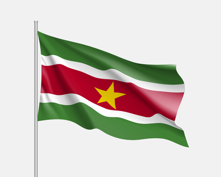 Waving flag of republic Suriname. Realistic iIllustration of South America country flag on flagpole. 3d vector icon isolated on white background Çizim