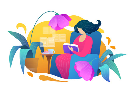 Love reading vector illustration in flat style. Young woman reading book on armchair at home. Intellectual hobby, distance studying and self education poster with female reader. Relaxation with book