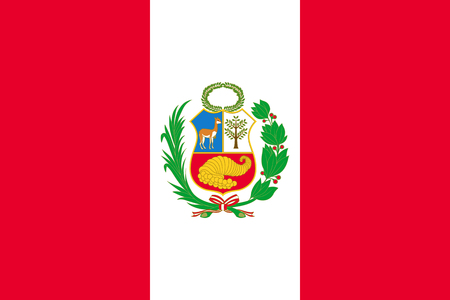 National flag of republic Peru with emblem. Peruvian patriotic symbol with official colors. South America country identity object. Peru flag vector illustration in flat design for web