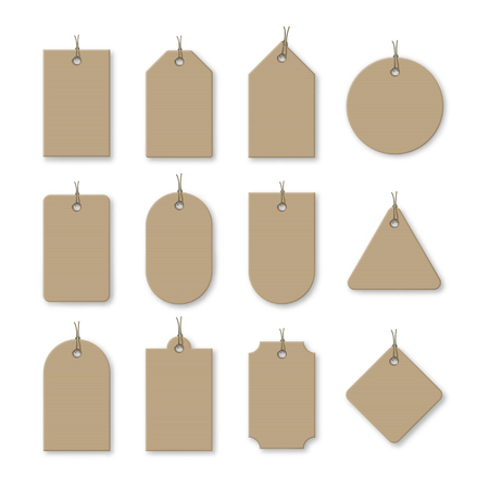 Brown cardboard price tags with shadow for sale campaign. Different shapes of realistic label templates with corrugated texture isolated on white background. Promotion production vector illustration.