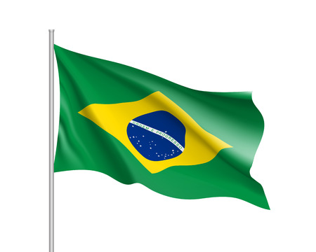 Waving flag of republic Brazil. Realistic iIllustration of South America country flag on flagpole. 3d vector icon isolated on white background