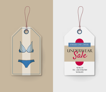 Cardboard price tag with lingerie. Blue bras and knickers on paper label. Ladies underwear shop vector illustration in flat style. Female wardrobe shopping. Production promotion and announcement. Vektoros illusztráció