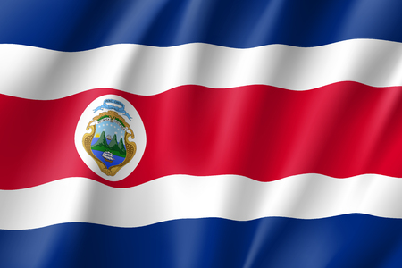 Rrepublic Costa Rica national flag. Patriotic symbol in official country colors. Illustration of South America state realistic flag. Vector icon Ilustração Vetorial