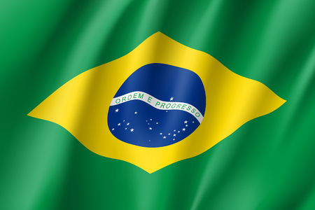 Republic Brazil national flag. Patriotic symbol in official country colors. Illustration of South America state realistic flag. Vector icon Illustration