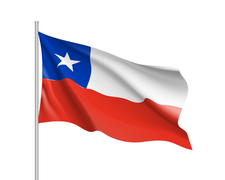 Waving flag of republic Chile. Realistic iIllustration of South America country flag on flagpole. 3d vector icon isolated on white background