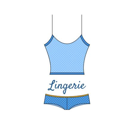 Icono de lencería azul elegante en estilo plano