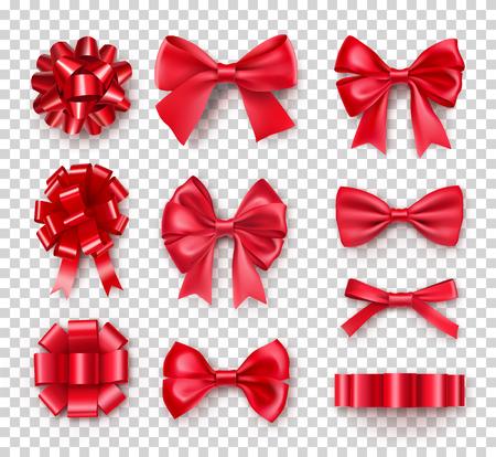 Fiocchi regalo rossi romantici con nastri. Decorazione realistica per regali e biglietti delle feste. Oggetto elegante da illustrazione vettoriale di seta. Decorazioni natalizie o di compleanno isolate su sfondo trasparente