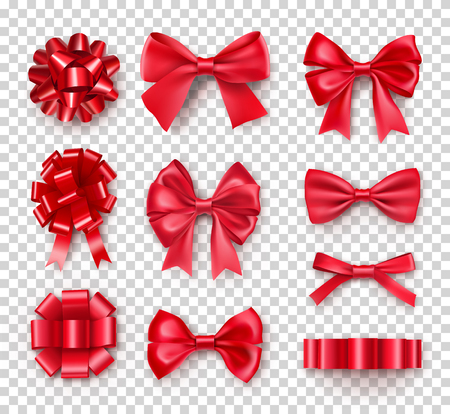 Romantische rote Geschenkbögen mit Bändern. Realistische Dekoration für Weihnachtsgeschenke und Karten. Elegantes Objekt aus Seidenvektorillustration. Weihnachten oder Geburtstagsdekor isoliert auf transparentem Hintergrund