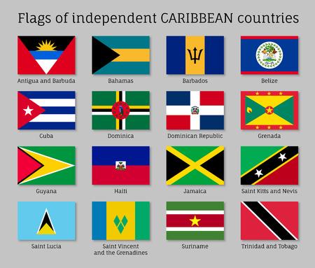Drapeaux des pays des Caraïbes indépendants